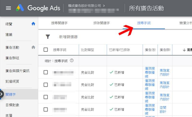 Google Ads 搜尋字詞報表